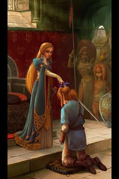 "Zelda: Breath of the Wild was amazing – really made me feel the magic of Ocarina of Time again!! I've been itching to do this one… had to finish the game first. :) Based on Edmund Leighton's ""The Accolade""."