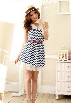 ASOS Marketplace: Pretty Whispers - Sweet Collar Waving Pattern Sleeveless Dress Blue
