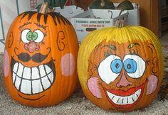 New funny face paint ideas fun ideas Funny Pumpkin Faces, Funny Pumpkins, Halloween Pumpkins, Fall Halloween, Halloween Decorations, Halloween Ideas, Pumpkin Face Paint, Pumpkin Painting, Funny Emoji Texts