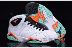 wholesale dealer 28703 98485 Air Jordan 7 Retro Shoes White Green Black Orange ❤ liked on Polyvore  featuring shoes