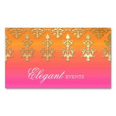 Wedding Event Planner Indian Damask Pink Orange Business Card Template