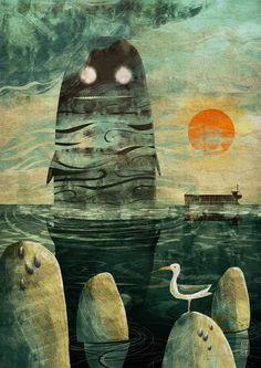 jago illustration- Image of The Sea Monster - Signed Giclee Print