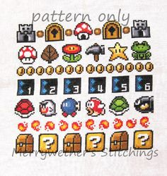 Super Mario 3 All Stars Band Sampler Cross Stitch by merrywether99, $5.00