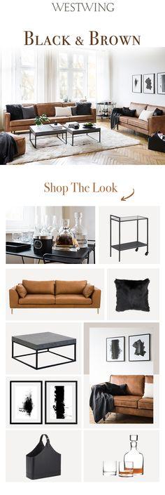 So funktioniert der Look »Black & Brown«: Trendy und doch zeitlos - eine Ledercouch in Cognac-Braun ist super angesagt und lässt den Stil der Seventies wieder aufleben. Unifarbene Kissen (aus Fell und Wolle für spannenden Materialmix!) und Plaids in Schwarz und Grautönen sowie ein großer cremefarbener Teppich sorgen für Wohlfühlatmosphäre.