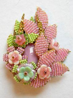 Lovely Vintage Miriam Haskell Brooch & Earring Set-Pate de Verre ...