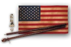 Valley Forge Heritage Series United States Flag Kit, containing  3-Foot x 5-Foot Antiqued Cotton United States Flag With Sewn Stripes & Embroidered Stars,  2 Piece 5-Foot Mahogany Wood Pole, and Brass Bracket by Valley Forge. $49.98. Measures 3 by 5 foot. 100% Made in the USA.. The Heritage Series from Valley Forge Flag--decorate your home with an anitqued cotton flag kit that gives it an Americana feel.. Valley Forge Flag designs and constructs fabrics that are du...