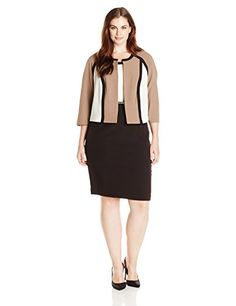 fa7d4bbb294 Sandra Darren Women s Plus-Size Long Sleeve Color Block Piped Jacket Dress  with Belt