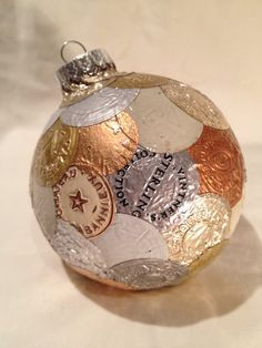 Bonnie- thought you might like this.   Ornament with white silver & gold wine foil by LilRedsTreasures, $35.00
