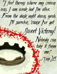 "Made by Ryan S. ""I feel thorns where my crown was. I (be) weak, but I'm alive. From the dusk until dawn, yeah. I'll survive, 'cause I've got... SWEET VICTORY!"" -Trip Lee"