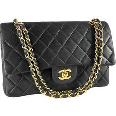 Chanel Classic Coco Black Quilted Lamb 2.55 Double Flap Bag Purse ❤ liked on Polyvore
