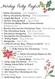 Free printable holiday party playlist + pre-made YouTube playlist to listen to.