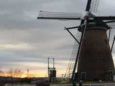 Windmill and morning sun.