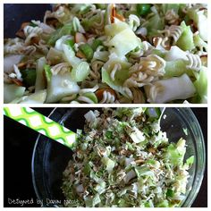 Fumi Salad {Asian Slaw}  Follow recipe + use seasoning packets from ramen noodles to the dressing & throw in some shredded rotisserie chicken at the end and call it dinner!