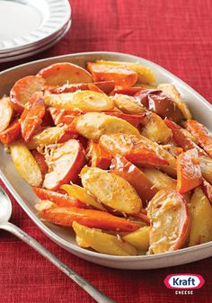 Oven-Roasted Root Vegetables & Apples — This savory fall vegetable and apple side dish is a guaranteed hit—but there is a secret to ensuring everything gets roasted perfectly. (Find out here!)