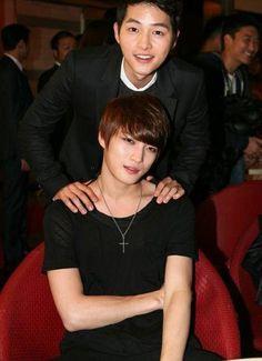 Song Joong Ki with his close friend, Kim Jae Joong