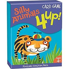 Peaceable Kingdom 4 Up! Silly Animals Card Game for Kids - 48 Cards with Gift Box