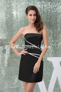 fashionable Short/ Mini Ruffles Silk-like Satin Strapless Sweet 16 Dress