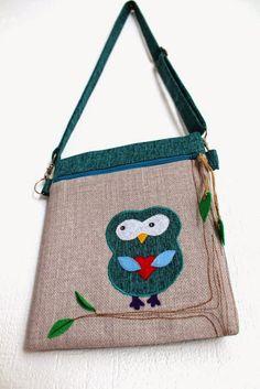 """Текстильная сумка через плечо с аппликацией """"сова""""."""