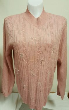Alfred Dunner Women's Beaded Sweater Ladies Pink Gold Sparkle Design Size XL 1x | eBay