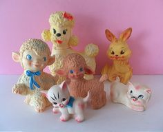 Vintage rubber Easter toys: bunnies, lambs, cats and a poodle (Edward Mobley style) Vintage Baby Toys, Vintage Nursery, Vintage Easter, Vintage Dolls, 60s Toys, Easter Toys, Popular Toys, Childhood Toys, Childhood Memories