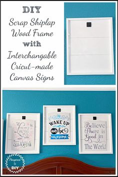 Create inspirational DIY wall art using scrap wood or shiplap and a Cricut with canvas boards. Create farmhouse decor with a DIY shiplap sign or frame and adding interchangeable DIY canvas artwork created with a Cricut machine. Inspirational canvas signs framed by scrap shiplap.