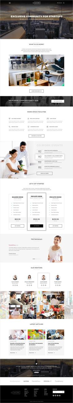 Co.Work is modern and fresh design premium #PSD #template for Open Office, #Coworking Space & Creative Space website download now➩ https://themeforest.net/item/cowork-open-office-creative-space-psd-template/18401389?ref=Datasata