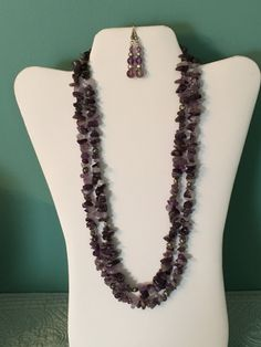 Double strand amethyst necklace and earrings by CoolBeadsDesign on Etsy