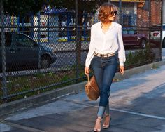 Blue Jean White Shirt;  wearing Emporio Armani blouse, Corello belt and bag, Christopher Kane x J Brand jeans, Sole Society 'Alexis' shoes