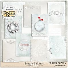 FREE download for a limited time / Winter Wishes Journal Cards By Palvinka (( need check out ))