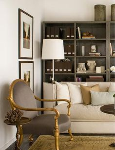 Probably don't need any more shelving, but if you did, you could do something like this at far wall of living room