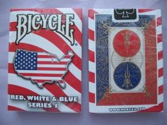 Bicycle Red, White and Blue Series 1 Map USA Design Playing Cards by US Playing Cards. $9.95. You are buying a new sealed rare deck of cards. Cards Feature a Gold trace of the Traditional 808 Designed Back with Background colors of Red, White and Blue. Cards can be used in any standard 52 card game and even includes 2 Gaff cards to do a magic card trick called Million Dollar Monte. The jokers are Clipart of the Staue of Liberty and Uncle Sam. The Ace of spades ...