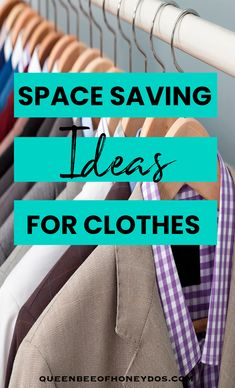 I had to use some creative methods to organize the clothes in my house, especially in my husbands closet. These storage tips allowed me to make the most of my space and gave me extra space to make things more functional. #storage ideas #clothes #organizing #closets