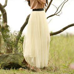 cream Dotted Mesh Maxi Skirt. $31.50