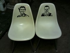 I made this.  Ray and Charles Eames stenciled onto Herman Miller molded fiberglass chairs.  I'd let 'em go for $400 for the pair. Charles Eames, Herman Miller, Stencils, Chairs, Blog, Furniture, Ideas, Tire Chairs, Home Furnishings