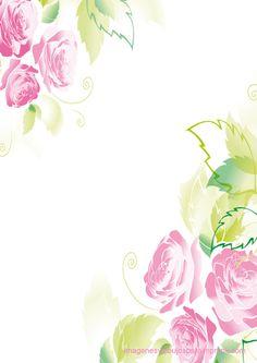 Rosas rosas y hojas verdes  Rosas rosas para imprimir