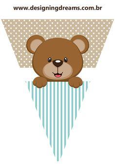 Kit Festa pronta para Chá de Bebê tema ursinho: grátis para imprimir - Cantinho do blog Layouts e Templates para Blogger