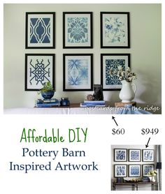 DIY Designer Artwork inspired by Pottery Barn. Easy and affordable. Postcards from the Ridge. [ Create my own collection using my own same-size canvases or framed embroidery samplers ] . Kitchen Wall Art, Decor, Pottery Barn Office, Diy Pottery, Pottery Barn Inspired, Diy Artwork, Diy Decor, Framed Wallpaper, Barn Wall Art