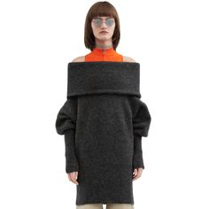 Acne Studios Daze mohair dark grey melange is a compact mohair sweater with an enormous, exaggerated fold over collar and fitted, ribbed sleeves and hem.