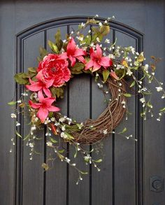 Spring Wreath Summer Wreath Floral White by AnExtraordinaryGift