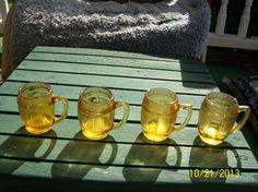 4 VINTAGE AMBER GLASS BARREL TOOTHPICK HOLDERS