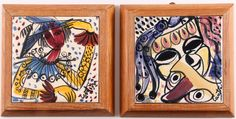 Cantini, Virgil (Italian/American, Western PA., 1919-2009), Pair of Midcentury Enamel on  Ceramic Tiles with Harlequin subject, both signed Cantini, one with marker signature on reverse, 6 x 6 inches, walnut wood frames,
