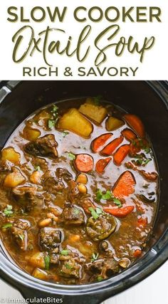 Looking for healthy soups? This savory slow cooker oxtail soup will fill up your… Looking for healthy soups? This savory slow cooker oxtail soup will fill up your needs. Oxtail Recipes Crockpot, Slow Cooker Recipes, Beef Recipes, Soup Recipes, Cooking Recipes, Crockpot Dishes, Oxtail Stew Recipe Crock Pot, Recipe For Oxtails, Crockpot Ideas