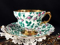 Rosina Chintz Teacup and Saucer, Rare Gold Banded Floral Tea Cup Made in England J-1806