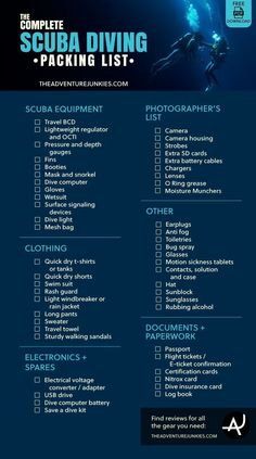 The Complete Scuba Diving Packing List – Best Dive Gear - Scuba Diving Gear and Equipment Posts – Dive Products and Accessories #scubadivingtrippackinglist