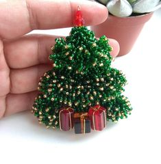 Beaded Jewelry, Brooch, Embroidery, Christmas Ornaments, Beads, Pendant, Holiday Decor, Workshop, Trees