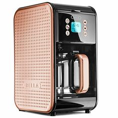 Dots Collection 2.0 12-Cup Programmable Coffee Maker, Black and Copper.