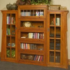 Arts and Crafts Lawyers Wood Bookcase with Optional Side Piers
