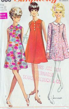 1960s Misses A Line Mini Summer Dress in Three by MissBettysAttic, $8.00