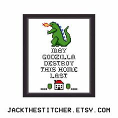 May Godzilla Destroy This Home Last Subversive Modern Cross Stitch Template Pattern Instant PDF Download by JackTheStitcher
