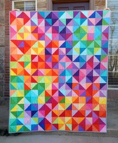 Made to Order, Rainbow Quilt, Postcard from Sweden Modern Quilt, Throw Twin Queen King, Handmade Bla Modern Quilt Patterns, Quilt Patterns Free, Quilt Modern, Modern Quilting, Loom Patterns, Bright Quilts, Colorful Quilts, Charm Pack Quilts, Lap Quilts